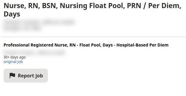 Nurse, RN, BSN, Nursing Float Pool, PRN / Per Diem, Days