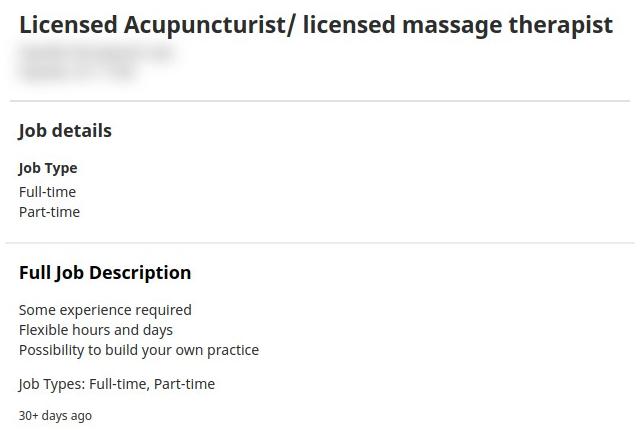 Licensed Acupuncturist/ licensed massage therapist